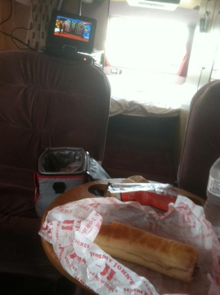 Eating Lunch at work in the van while watching the Price is Right.