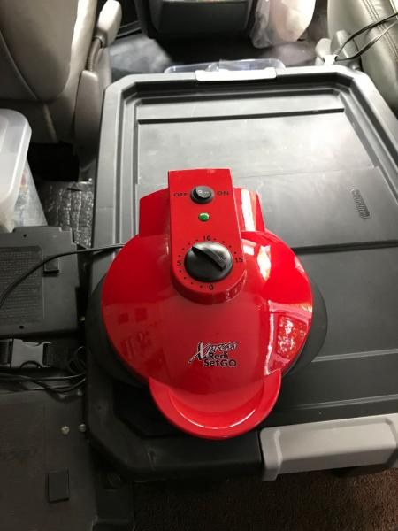 Electric Muffin Maker:  While this brand I believe is no longer made, you still can find them online.  It only takes 750 watts but has a duty cycle of only 30%.  This means that for baking muffins for 8 minutes, it consumes electricity for only about 3 minutes.