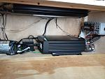 """Xantrex sw 2000 pure sine wave inverter,  Arc Audio 1200.1 amp for the Subwoofer, Shore power runs into a """"genius """" battery charger for the house..."""