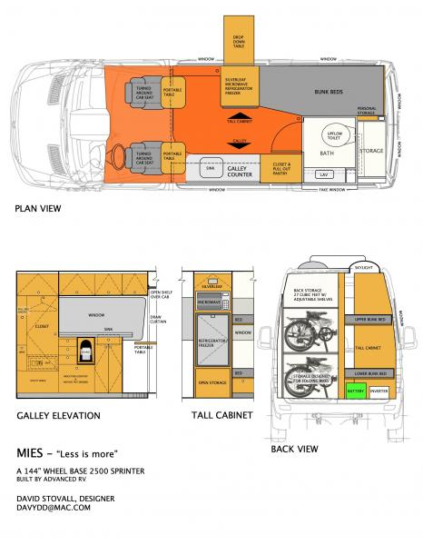 Mies ARV 2D PRESENTATION Plan and interior elevations of galley, tall cabinet and back.