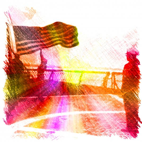 FlagLowering Charcoal Sketch Color Explosion FX
