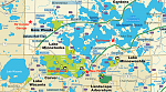 Our Area Map of the Lake Minnetonka area west of Minneapolis, MN showing lakes, public boat launches, parks, and regional bike trails.