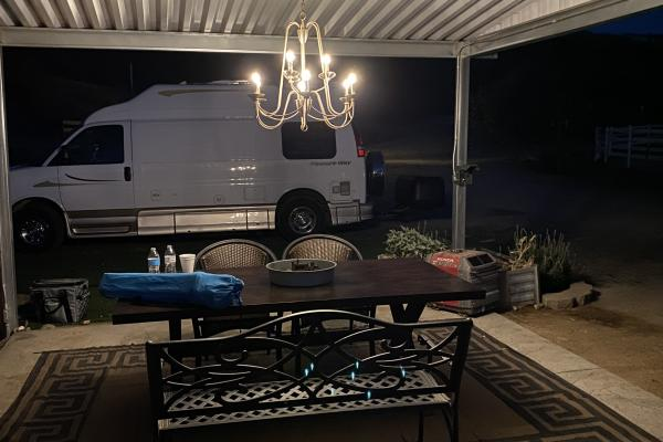Camping with a Chandelier!