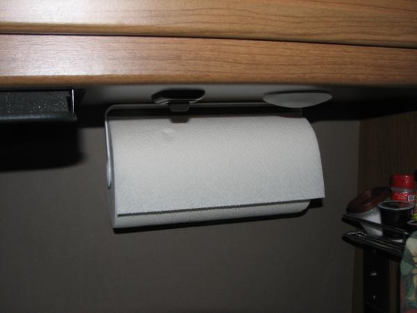 Paper towel holder in Galley from HD held on with tape