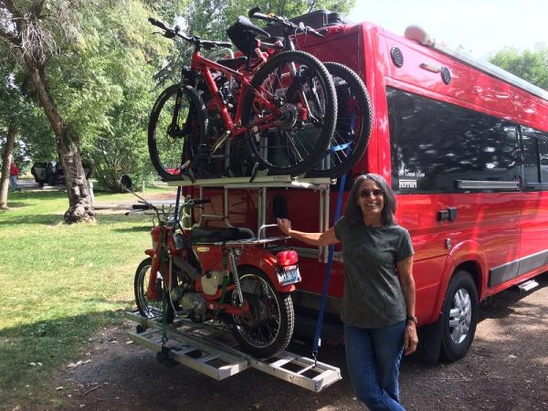 Three Island Crossing, ID. Posing for pic before unloading the bike.