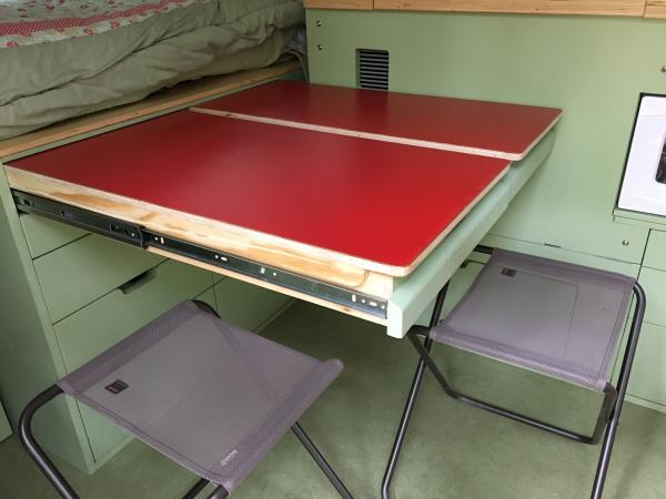 Pull-out tables can be used singly or together.