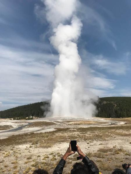 Old Faithful erupted just minutes after our arrival.  A classic Yellowstone moment.