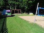 As you Class B veterans know, self-containment has its advantages.  Here we were shoehorned into a strip of grass beside the campground volleyball...