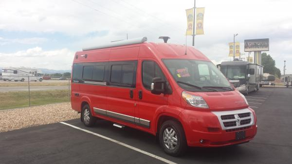 2016 Travato 59K in Flame Red and Diesel.  There will be a bike rack before we head east.