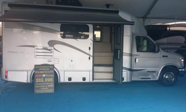 20151015 150934 The best place to buy for price is the California RV Show because it is THE manufacturer's show.  Info on the sign in front of our Prestige.  Final Price was $75K.