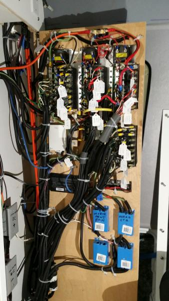 Back of the cabinet door; back of the curcuit breaker switches.