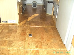 Finished Cork Flooring with entry way expanded.