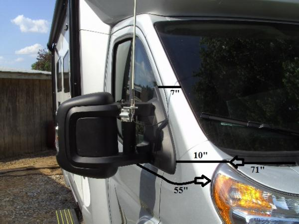 Passenger Side Mirror with CB antenna.  Also measurements for outside window covers.