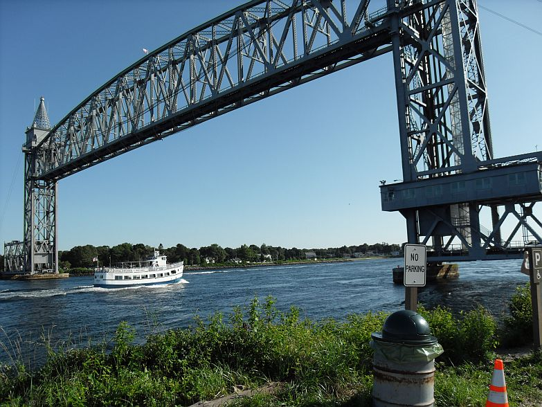 The Buzzards Bay railway lift bridge over Cape Cod Canal.  Normally up; there's lots more boat traffic than trains.